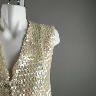 70s Ivory Iridescent Sequin Sleeveless Knit Loop Closure Tank Vest Top