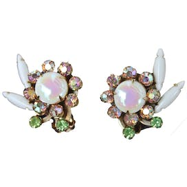50's/60's Faux Opal Peridot and Aurora Borealis Stone Clip On Earrings