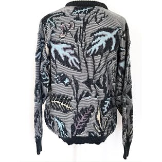 80's/90's Gray and Blue Leaf Print Sweater by Michael Gerald
