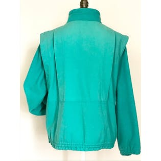 80's/90's Teal Sweater and Lightweight Material Jacket by Andy Johns