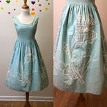 another view of 50's Seafoam Green Rockabilly Pinup Dress