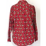 another view of Red with Neutral Colored Floral Print Button Up by Chaus Sport