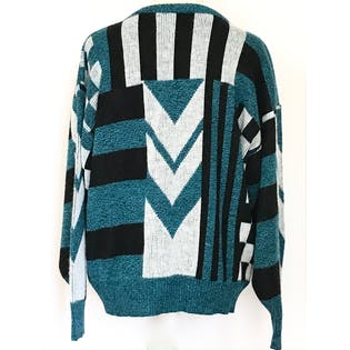 80's/90's Teal Black and White Geometric Print Sweater by Turnabout
