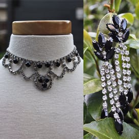 60's Icy Rhinestone and Jet Black Necklace and Earrings Demi Parure