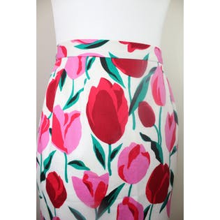 80's Tulip Print Mermaid Skirt by Raul Blanco