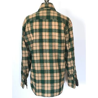 60's/70's Beige and Green Plaid Flannel Button Up by Arrow