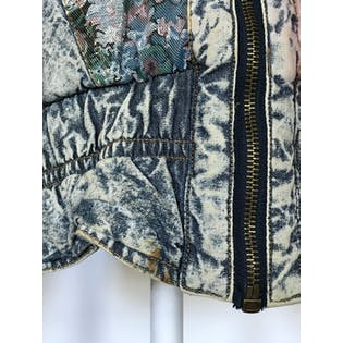 80's Acid Wash Denim Bomber with Patches by New York Girl