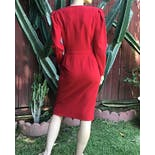 another view of 80's Deep Red Long Sleeve Zip Front Power Dress