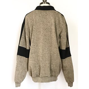 80's/90's Beige Speckled Collared Sweatshirt with Black Stripes by Classics by Palmland