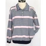 another view of Pink and Black Striped Long Sleeve Polo by Paquette