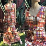 another view of 60's Geometric Pattern Scoop Neckline Tank Dress