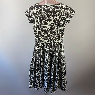 50's Handmade Brown Floral Day Dress