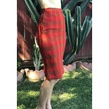 another view of 60's Red Stripe Plaid Weave Pencil Skirt