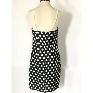 80's Black and White Polka Dot Shrug and Dress Set by L. A. Glo