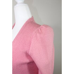 80's Pink Puff Sleeve Cardigan by St. John