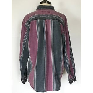 80's/90's Faded Blue and Burgundy Striped Button Up by Santana