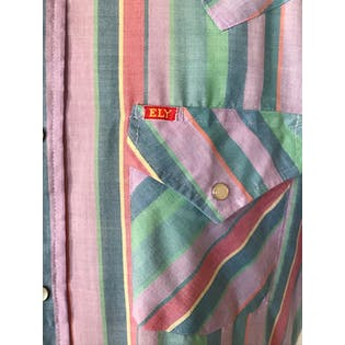 90's Pastel Multicolor Striped Short Sleeve Button Up by Ely Plains