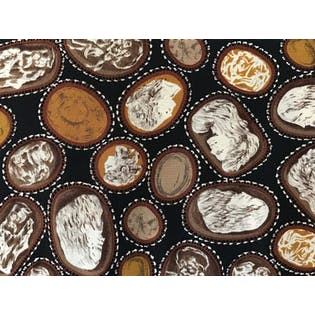 80's/90's Black and Brown Pendant Pattern Silk Button Up by Blassport