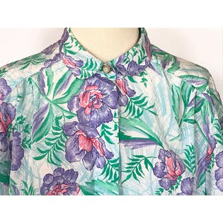 80's/90's Light Green and Purple Tropical Floral Print Button Up by Pykettes