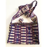 another view of 90's Blue and Red Peruvian Woven Crossbody Purse