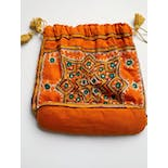 another view of 70's Orange Drawstring Tote Purse with Embroidery
