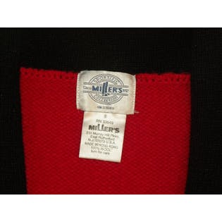 80's Red Wool Preppy Crest Cardigan Sweater