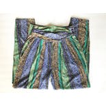 another view of 80's Blue Green and Purple Ornate Printed Pants by Equipt