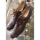 another view of 20's/30's Brown Leather Eyelet Detailed Oxfords by The Archlock Shoe by Dickerson