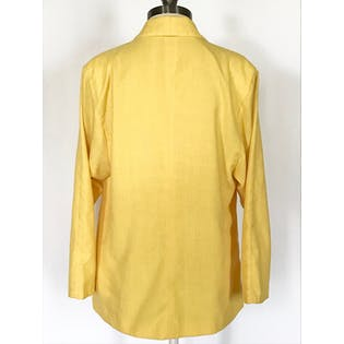 80's Yellow Linen Oversized Blazer with Thin Collar by Thomas O. Sport