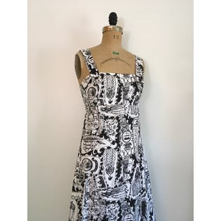 70's Black and White Pinafore Victorian Ship Novelty Print Dress