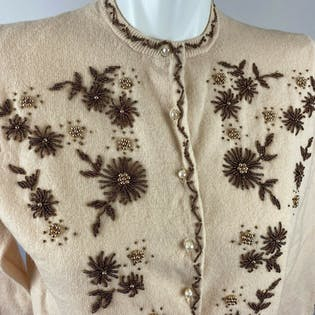 Vtg 50s 60s White Stork Lambswool Angora Beaded Cream Cardigan Gold Small Medium