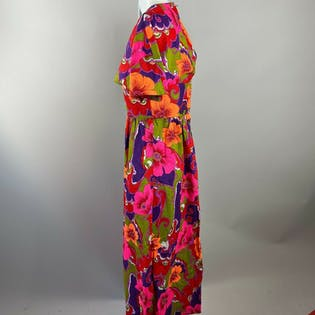 70's Pink And Orange Hawaiian Maxi Dress