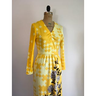 60's Mod Op Art Floral Yellow Maxi Dress by Paganne