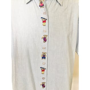 90's Blue and White Button Up with Embroidered Bears by Sara Studio