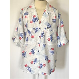 80's Red White and Blue Polka Dot and Abstract Print Button Up by Cabrais