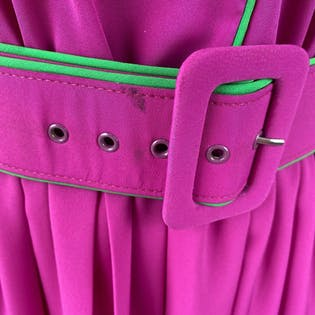 90's Hot Pink Belted Secretary Dressby Melissa Petites