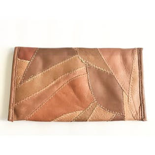 80's Multi Toned Small Brown Clutch