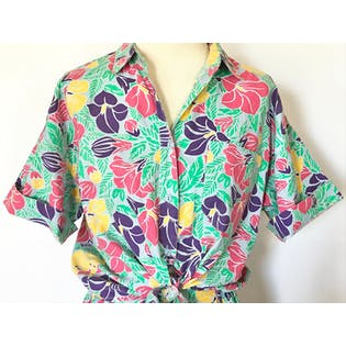 90's Bright Multicolor Floral Print Button Up and Shorts Set by Gina Peters