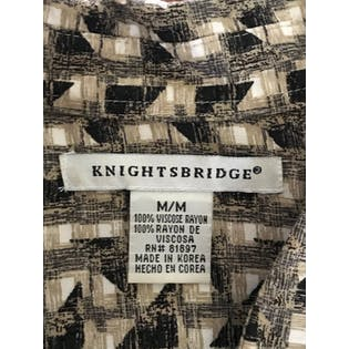 90's Beige and Black Abstract Geometric Print Button Up by Knightsbridge
