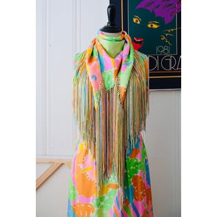 70's Pastel Tropical Print Dress with Matching Shawl by G Fox & Co Nat Kaplan