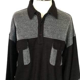 90's Black and Gray Colorblock Long Sleeve Polo by Falcon Bay