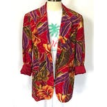 another view of 90's Red Silk Tropical Floral Blazer by Casual Corner