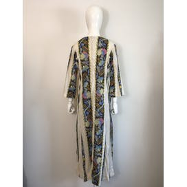 70's Beige with Floral Striped Maxi Kaftan Dress by Liberty Hawaii