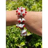 another view of 60's Mod White and Red Ceramic Flowers Bracelet