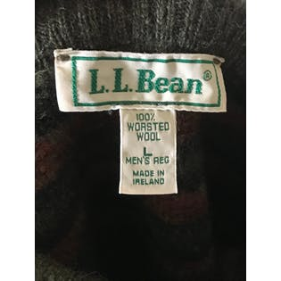 90's Green and Orange Pattern Wool Sweater by L. L. Bean