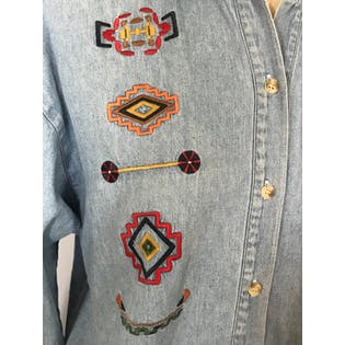 90's Light Wash Denim Button Up with Geometric Embroidery by 62 East