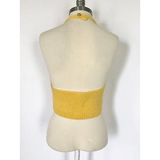 80's/90's Yellow and Green Striped Knit Halter Top