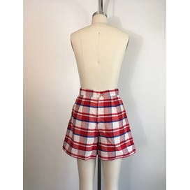 60's/70's Red White and Blue Plaid Shorts with Pockets