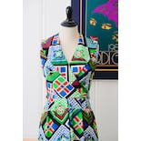 another view of 70's Primary Color Printed Maxi Dress with Keyhole Back