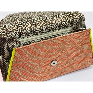 90's Neon and Animal Print Clutch